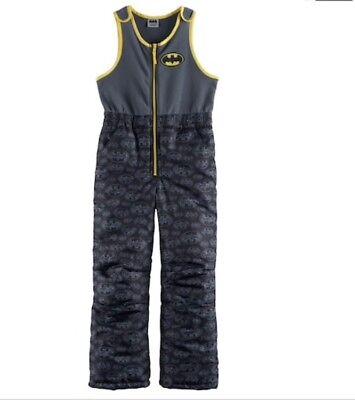 Batman Super Hero Snowsuit Bibs Boys XS Fleece Waterproof Pants Zip Winter NEW