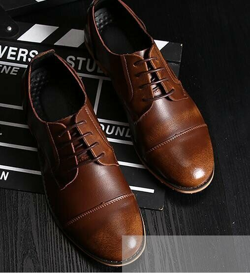 Men's British Style Wedding Business Party Synthetic Leather Lace Up Dress shoes