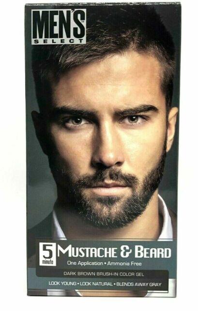 Men\'s Select Mustache and Beard Dye Dark Brown Hair Color 5 Minute GEL Ship