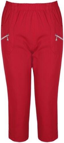 New Ladies Plus Size Calf Length Cropped Capri Zip Button Pants Shorts 12-24