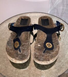 010bdc751 Tory Burch Cork Footbed Gold Navy Leather Thong Sandal Flip Flop ...