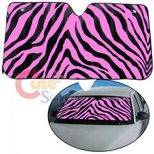 Black  Pink Zebra Car Front  Window Sun Shade Windshield Protect Cover