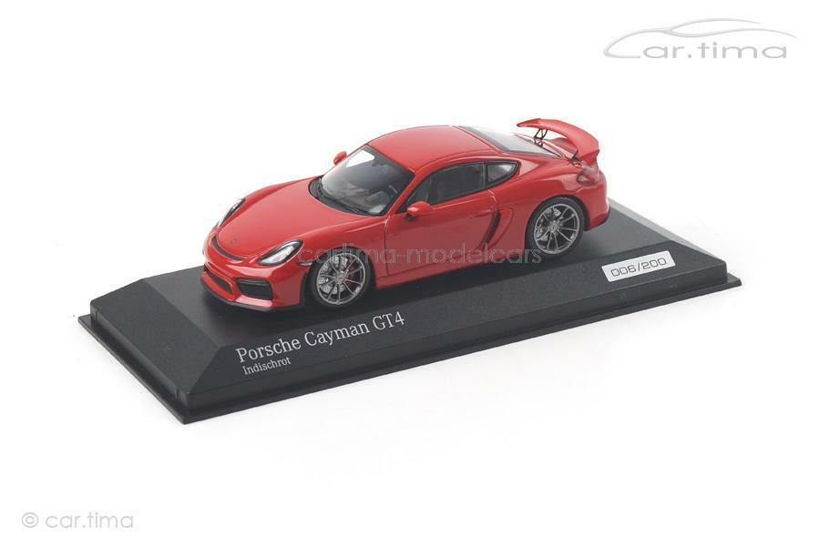Porsche Cayhomme gt4-Rouge indien -  1 of 200-MINICHAMPS-voiture. Tima Exclusive-C  loisir