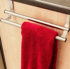 DOUBLE BAR OVER DOOR TOWEL RACK BATHROOM STEEL RAIL HOLDER HANGER CUPBOARD