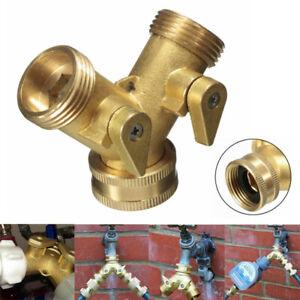 Brass-Double-Valves-2-Way-Garden-Water-Tap-Connector-Adaptor-Hose-Pipe-Splitter
