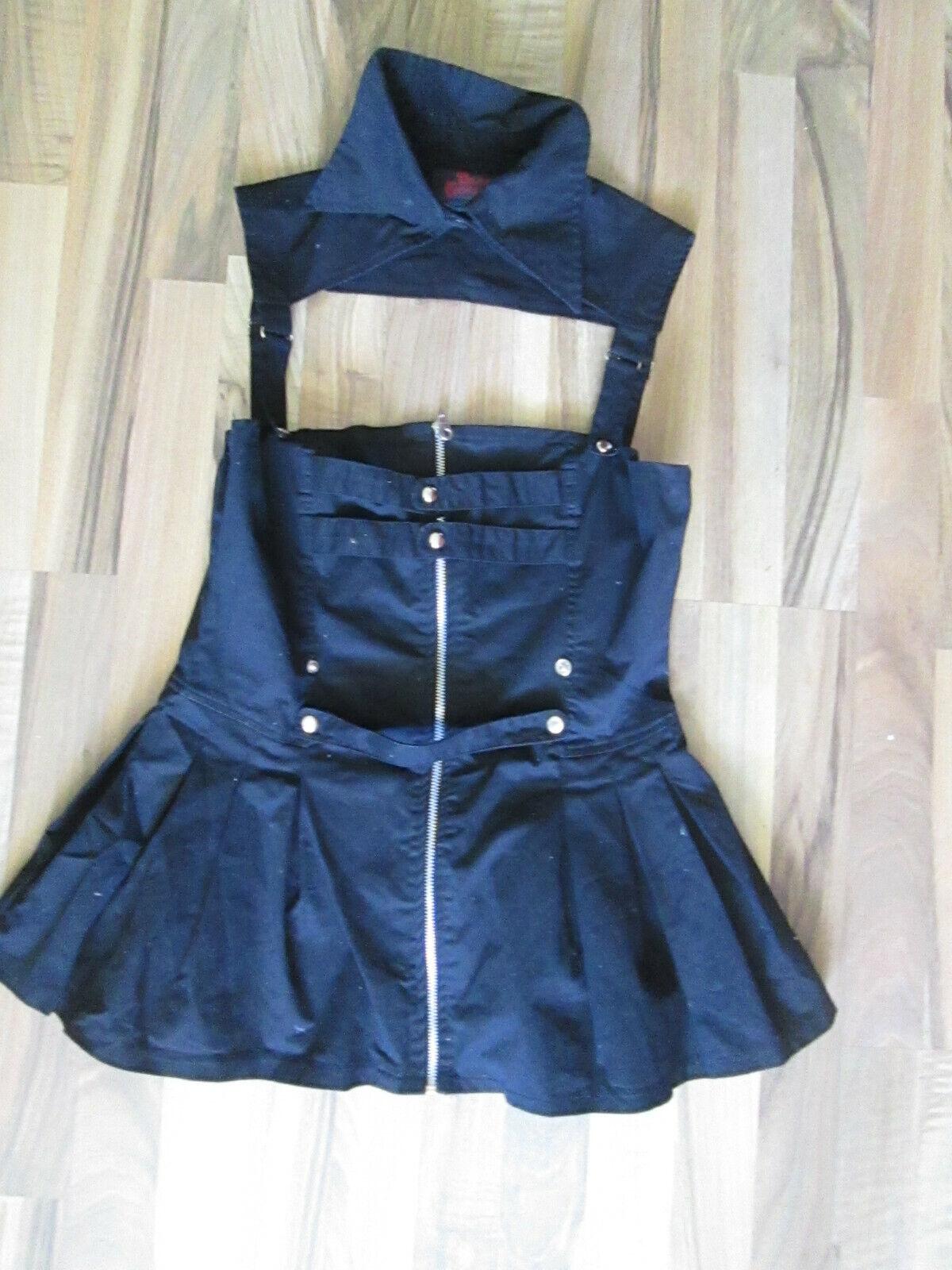 Dark Gothic kurzes Kleid Schwarz abnehmbarer Kragen Gr L 40 42