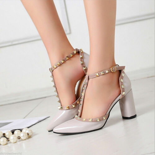 Womens Studded  Pointed Toe Ankle Strappy Pumps High Heels Rivet Sandals Shoes