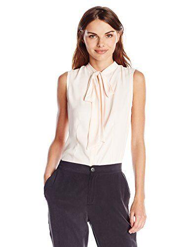 Buy Anne Klein Sleeveless Tie Neck Button Down Blouse Powder 10