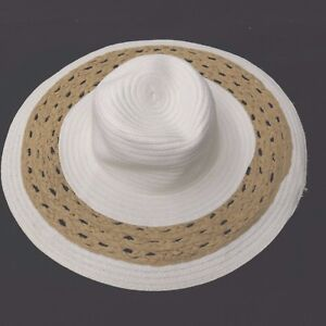 1b4d5078f0b PANAMA JACK Large Brim 100% Paper Woven Wide Brim White Tan Sun Hat ...