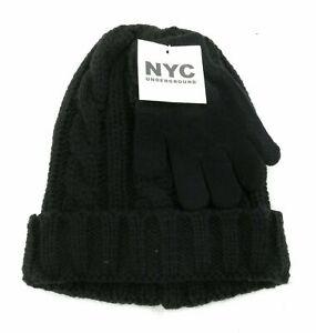 NYC-Underground-Childrens-Unisex-Beanie-and-Gloves-Black-One-Size