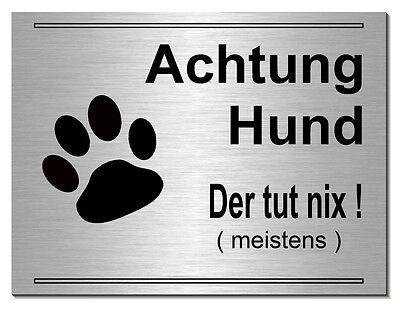 Humorvoll Vorsicht-achtung-hund--20 X15cm Aluminium-edelstahl-optik-schild-warnschild-hund Sparen Sie 50-70% Haustierbedarf