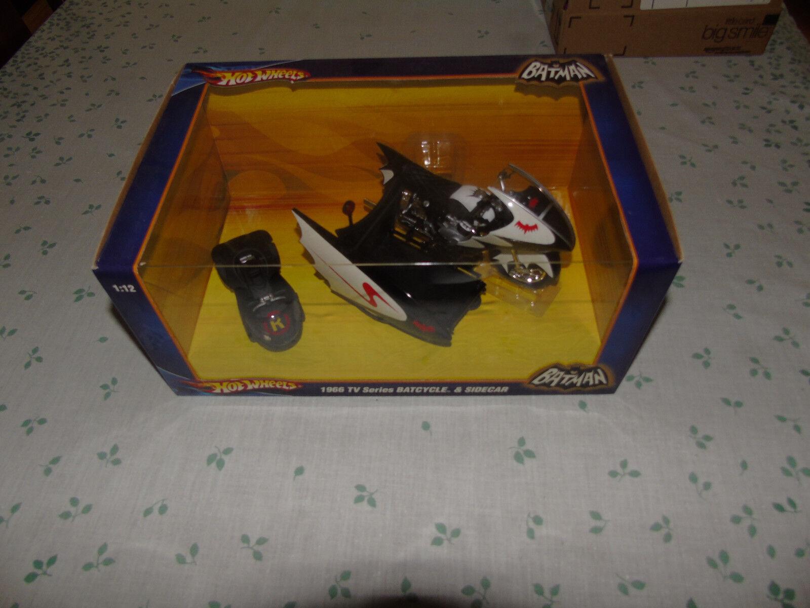 1966 Batcycle & & & Sidecar 1 12 Scale Hot Wheels DC COMICS 2009 Adam West TV Show c9bca8
