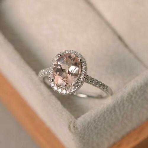 1.65Ct Oval Cut Peach Morganite Halo Engagement Ring 14K White Gold Finish
