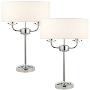 2 PACK Twin Light Table Lamp 2 Bulb