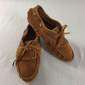 a1ce6a79e0c Image is loading Minnetonka-Moccasins-532-Fringed-Brown-Suede-Hard-Sole-