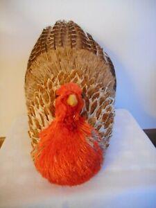 Thanksgiving-Turkey-Bird-With-Straw-amp-Feathers-10-034-Decor-Centerpiece-New