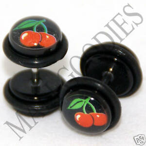 0271-Fake-Faux-Cheaters-Illusion-Ear-Plugs-16G-Red-Cherries-Black-0G-Earrings