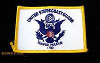 US COAST GUARD BATTLE COLORS FLAG SEMPER PARATUS 1790 HAT PATCH USCG PIN UP WOW