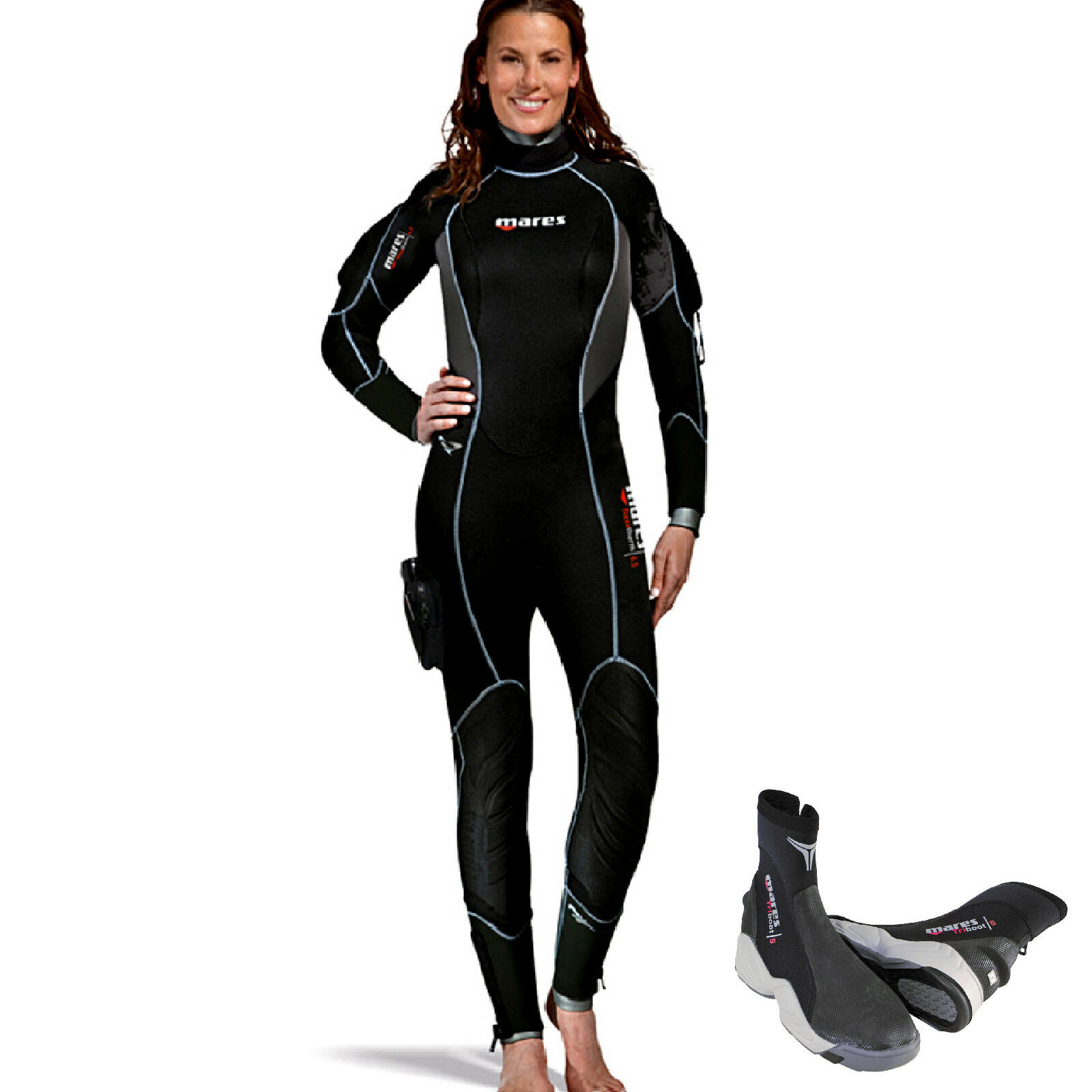 LO3 Mares semidry suit FLEXA THERM she 8,6,5 dives size 1 + boots 5mm trilastic