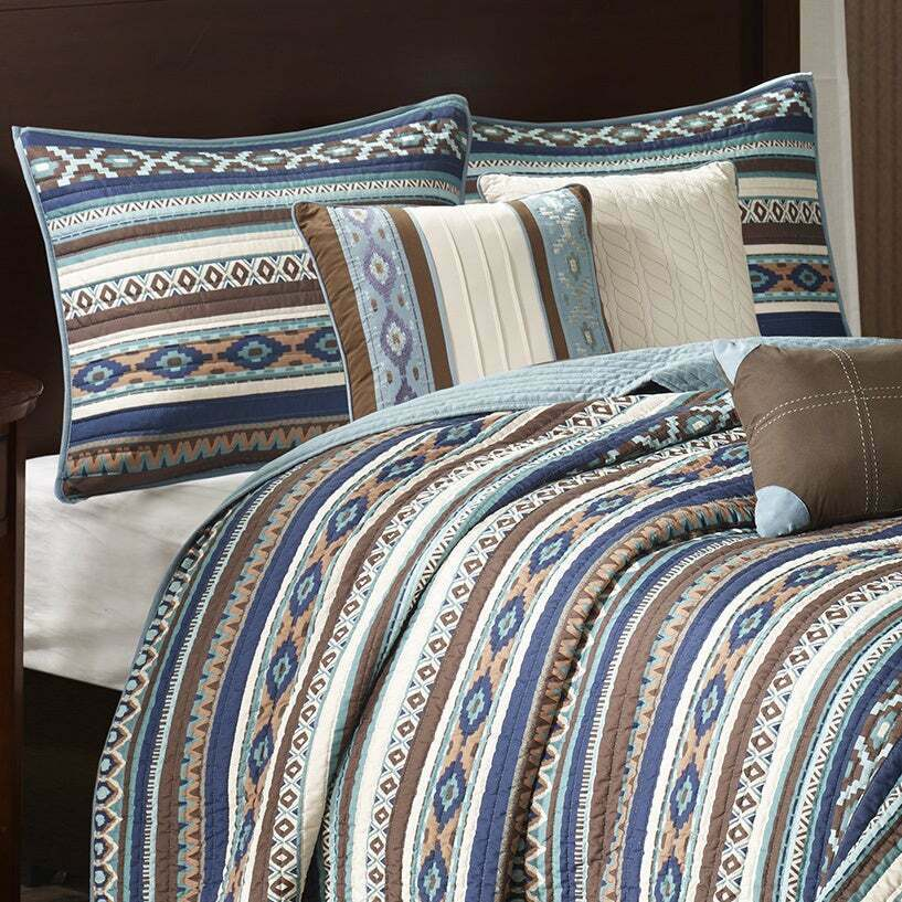 BEAUTIFUL Blau braun TEAL IVORY WESTERN SOUTHWEST COUNTRY LODGE CABIN QUILT SET
