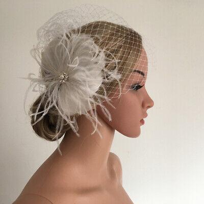 Fashion White Birdcage Veil Mesh Fascinator w//Headband Wedding Bridal Party