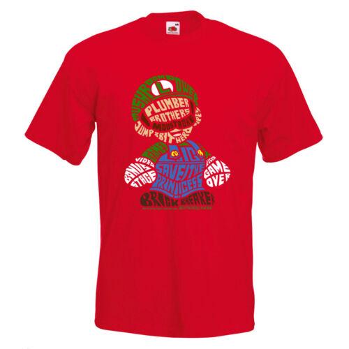 Plumber Brothers Mario Text Mens PRINTED T-SHIRT Luigi Super Mushroom Game