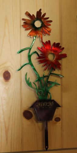 Flowers Yard Garden Lawn Stake In Flower Pot Hand Painted Mothers DayMetal Art