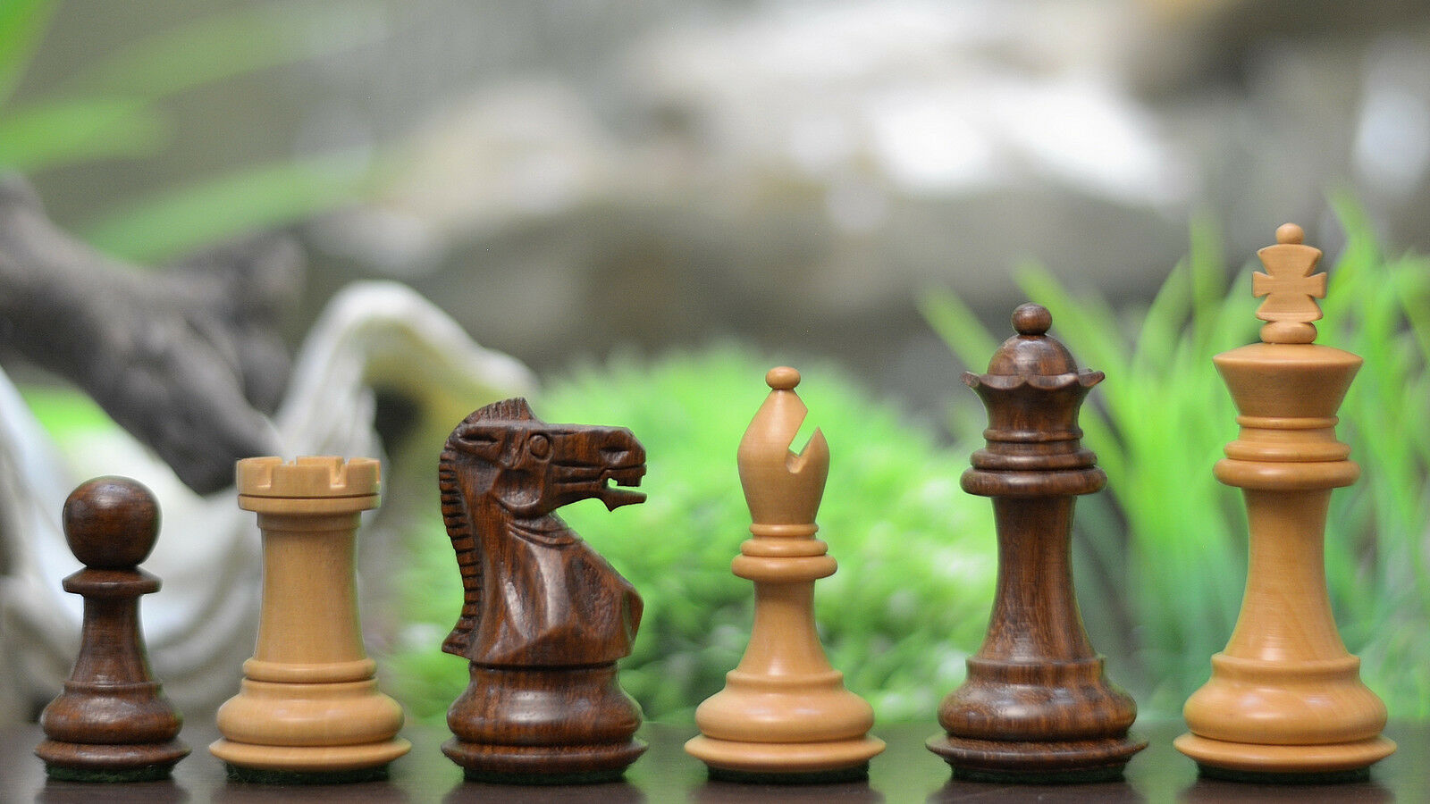 The Collector Series Wooden Staunton Chess Pieces in Sheesham & Box Wood - 2.6