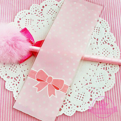 10 pcs Ribbon Pink Polka Dots Back Plastic Jewelry Cookie Packing Bags