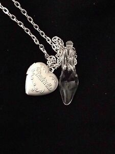 Cinderella glass slipper locket necklace 24 silver plated chain image is loading cinderella glass slipper amp locket necklace 24 034 aloadofball Gallery