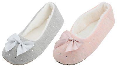 Slumberzzz Ladies Velour Ballerina Slippers with Bow