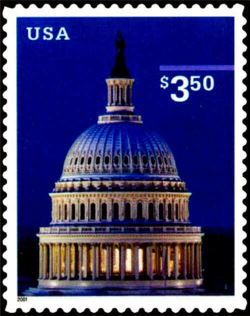 2001 $3.50 Capital Dome, Priority Mail Scott 3472 Mint