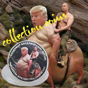 WR-Putin-Riding-Trump-US-Russland-Praesident-Silber-Muenze-Neuheit-Sammlung