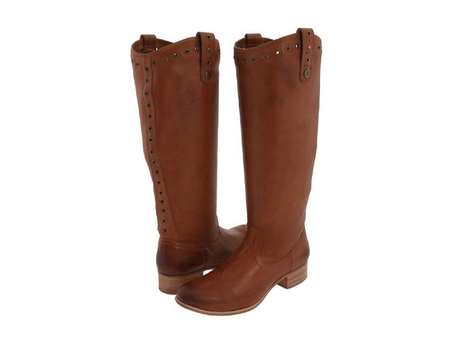 Frye AMELIA Grommet Tall Leather Boots Cognac 6M Women Knee High New