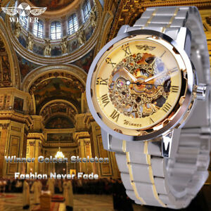 Montre-Squelette-Mecanique-Homme-Bracelet-Metal-Fashion-men-watch-PROMO