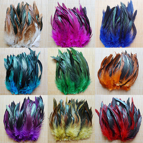 50PCS 13-20CM NATURAL COCK ROOSTER TAIL FEATHERS FOR DIY CLOTHES DECOR BEST