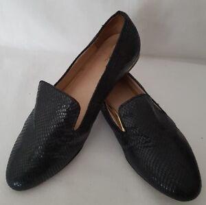 Next-Ladies-Work-Casual-Loafers-Shoes-Black-Gold-Design-Heel-UK-5-5-EU-38-5