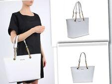 Michael Kors Jet Set Optic White Saffiano Leather chain handle Top-Zip Tote Bag