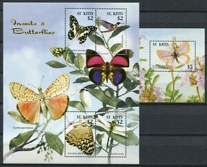 Saint-christophe - 2005 Papillons Butterflies Mariposa Insects 852-55 + Bloc 70 Neuf Sans Charnière