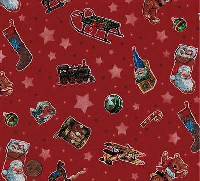 BonEful Fabric FQ Cotton Quilt Green Gold S Xmas Tree Red White Candy Cane Santa