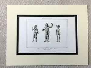1830 Antico Stampa Antico Romana Sculture Statue Hercules God Figura Incisione