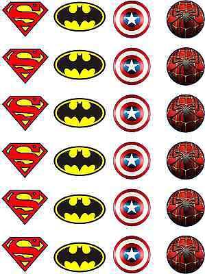 Marvel Batman Spiderman Superman Capt America Edible Rice Paper Cupcake Toppers