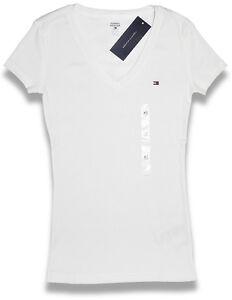 tommy hilfiger v ausschnitt damen shirt t shirt weiss gr sse w hlbar. Black Bedroom Furniture Sets. Home Design Ideas