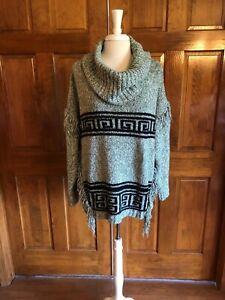Kensie-Green-w-Fringe-Chunky-Knit-Sweater-XL
