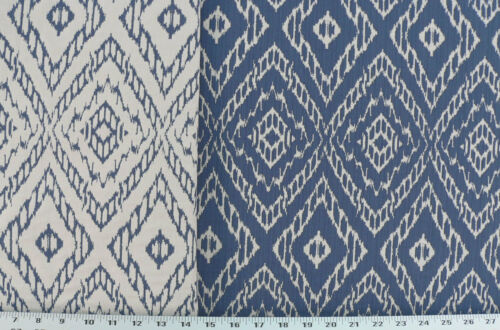 Drapery Upholstery Fabric Strie Striped Reversible Diamond  Ikat Royal Blue