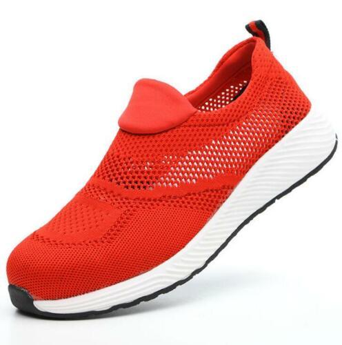 Herren Damen Mesh Sicherheitsschuhe Stahlkappe Arbeitsstiefel Schlüpfen Sneakers
