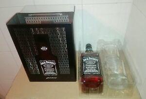 Cofanetto-con-due-Bicchieri-in-Metallo-Bottiglia-Whisky-Jack-Daniel-039-s-Old-N-7