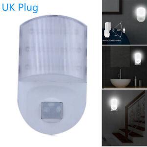 White-Plug-In-PIR-Motion-Sensor-Hallway-Socket-White-LED-Night-Safety-Light-GB