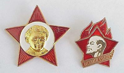 1970y Oktyabr Ussr 2pcs Soviet Pioneer Russian Badge Award Gold Red Star Pin Products Are Sold Without Limitations