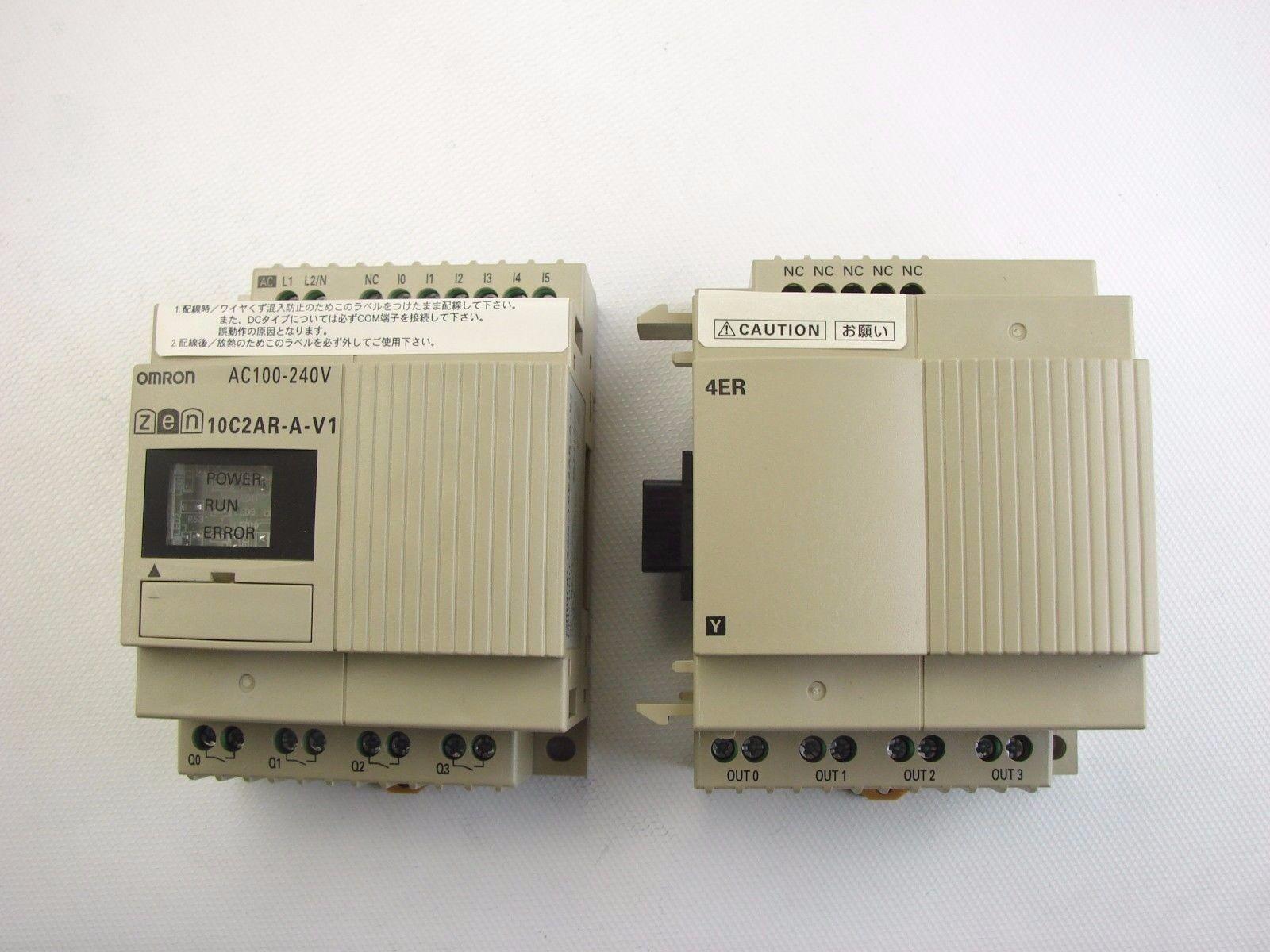 NEW OMRON ZEN-10C2AR-A-V1 CPU UNIT AC100-240V & ZEN-4ER OUTPUT UNIT (b465)